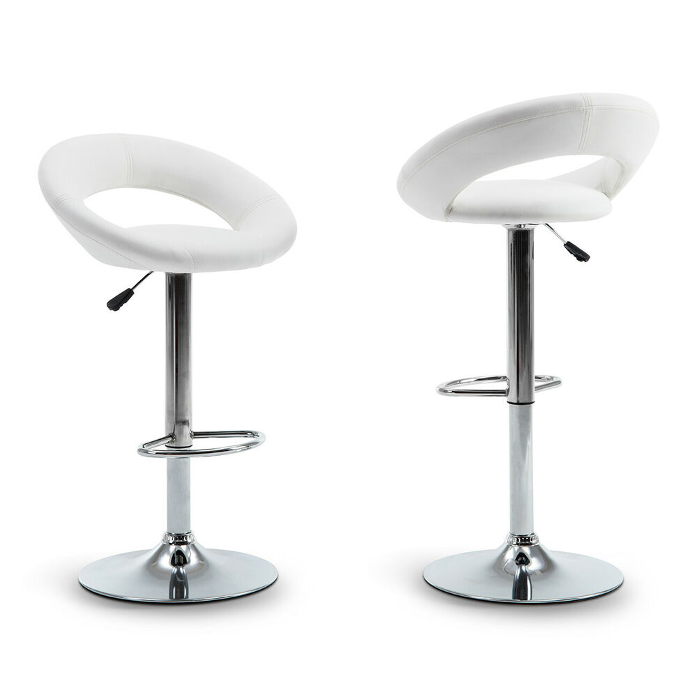 Set Of 2 Modern Bar Stool Leather Hydraulic Swivel Chair