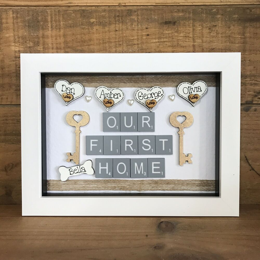 Personalised Box Frame New Home First Home Scrabble Love