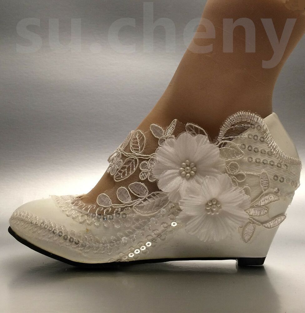 Wedding Wedge Heels: Lace White Ivory Crystal Sequin Daisy Wedding Shoes Bride