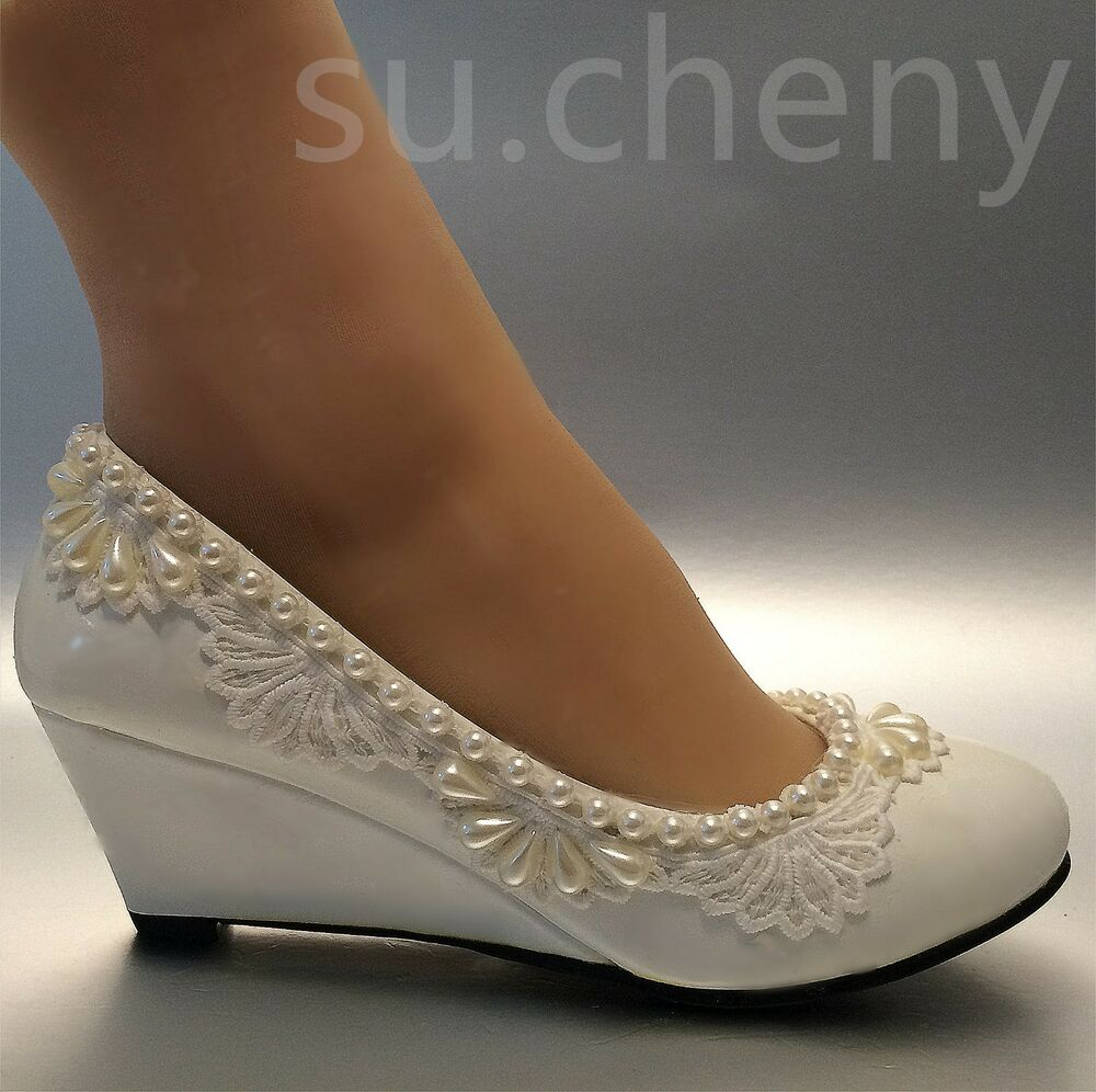 2 Heel Wedges Lace White Light Ivory Pearl Wedding Shoes Bridal Low Size 5 105