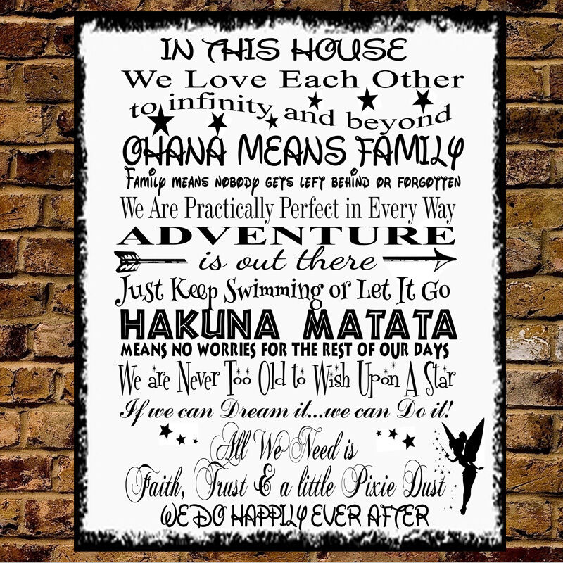 Personalised Metal Disney Quotes In This House Family Wall