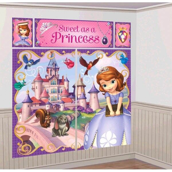 Sofia the first giant poster scene setter decoration kit birthday party supplies ebay - Princess party wall decorations ...