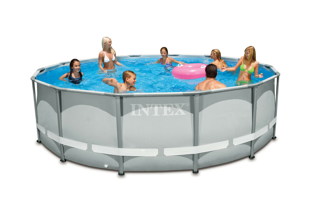 Intex 14 39 x 42 ultra frame pool set with 1000 gph filter - Intex oval frame pool ...