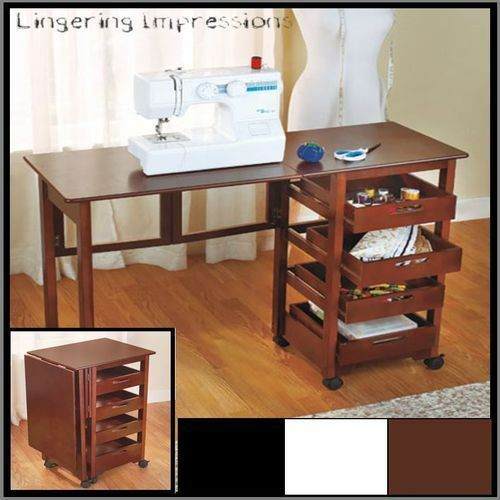 craft desk with storage fold away rolling desk craft sewing hobby computer storage 3764
