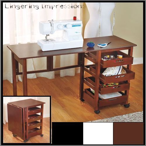 Fold away rolling desk craft sewing hobby computer storage for Craft desk with storage