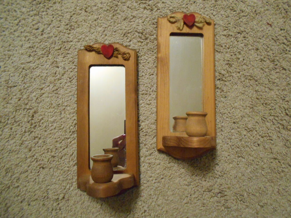 Vintage Mirrored Sconces W Red Hearts For Votive Cups