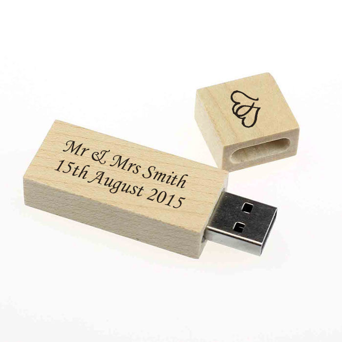 personalised wood 8gb usb memory stick drive wedding