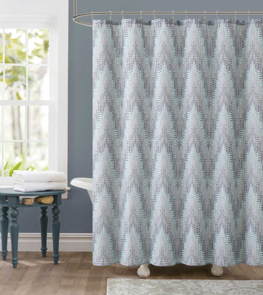 Dobby Fabric Shower Curtain Gray And Green Chevron Tile Design 72 X 7