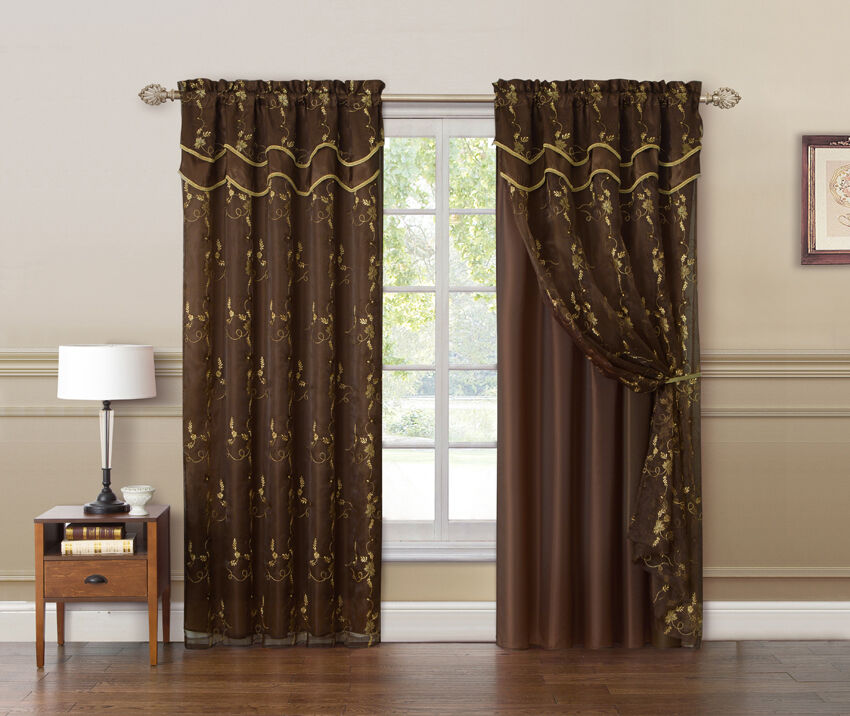 Chocolate Brown And Gold Double Layer Embroidered Window