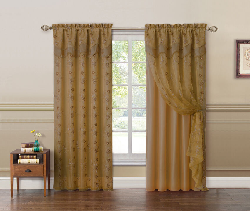 Double Panel Window Curtains : Two panel gold and double layer embroidered window