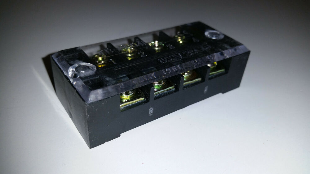 4 position terminal block with cover ground power. Black Bedroom Furniture Sets. Home Design Ideas