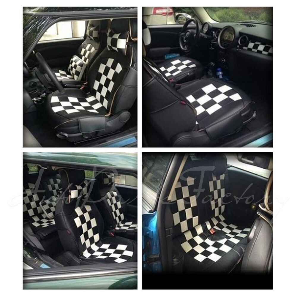 new pu leather check seat cover for mini cooper r55 r56 r57 convertible hatch ebay. Black Bedroom Furniture Sets. Home Design Ideas
