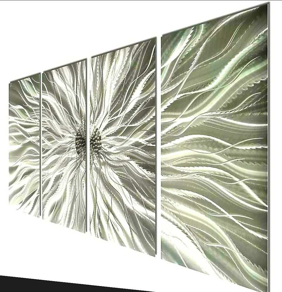 Silver Modern Metal Abstract Wall Art Sculpture Home Decor ...