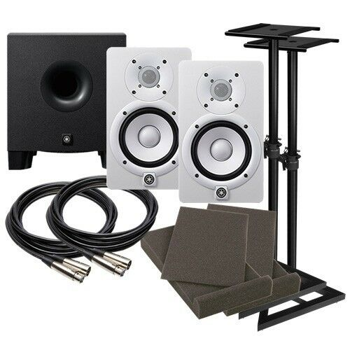 Yamaha hs5 5 powered studio monitor speaker white for Yamaha powered monitor speakers