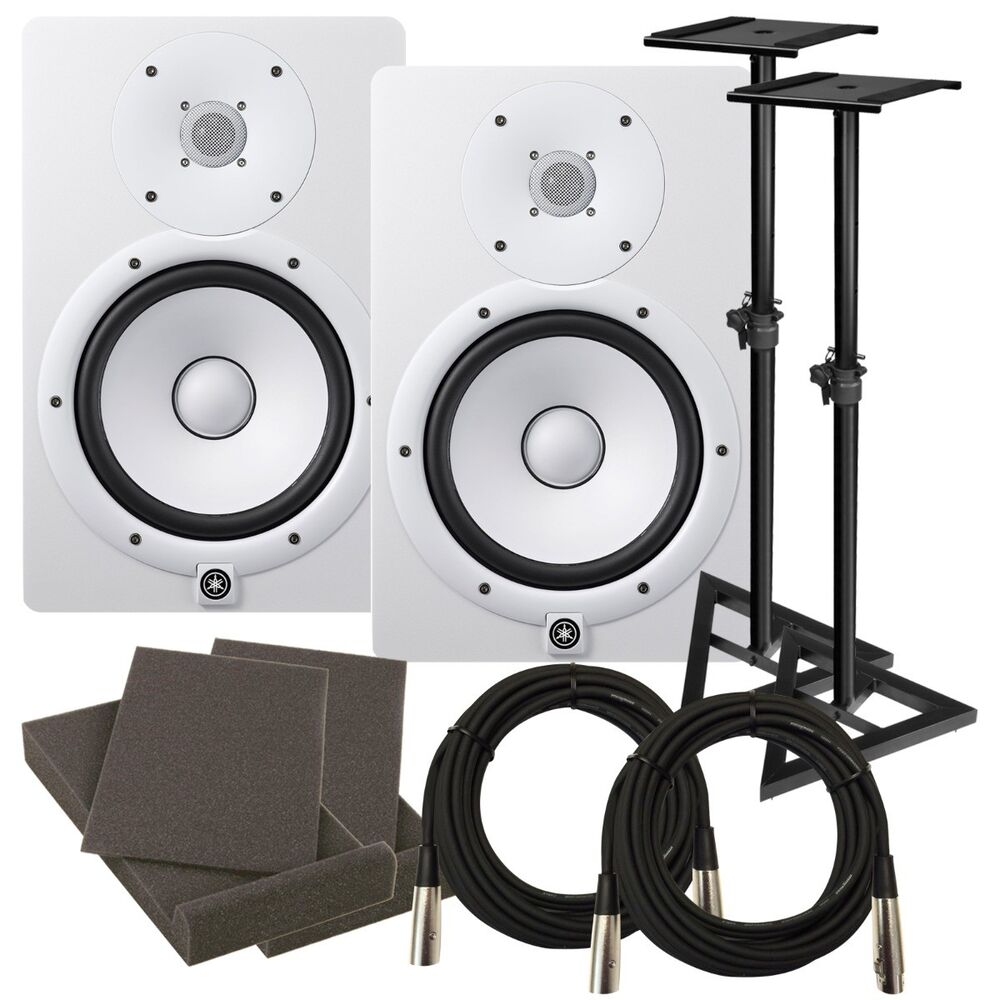 Yamaha hs8 8 powered studio monitor speaker white for Yamaha powered monitor speakers