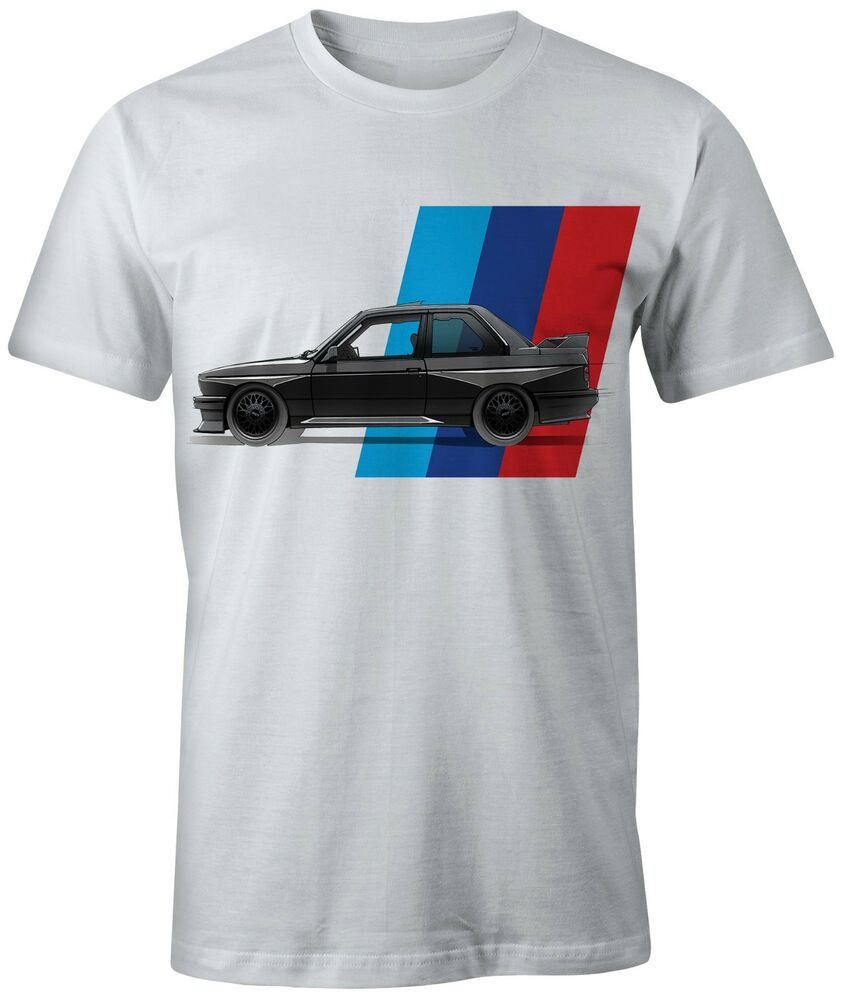 new bmw m power m3 e30 t shirt on white and blue shirts. Black Bedroom Furniture Sets. Home Design Ideas