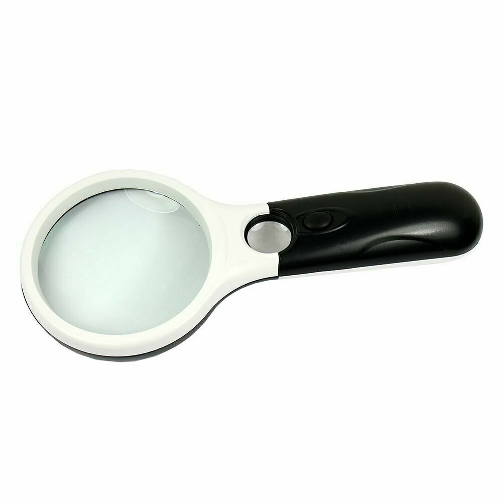 led lighted 45x handheld magnifier reading magnifying. Black Bedroom Furniture Sets. Home Design Ideas