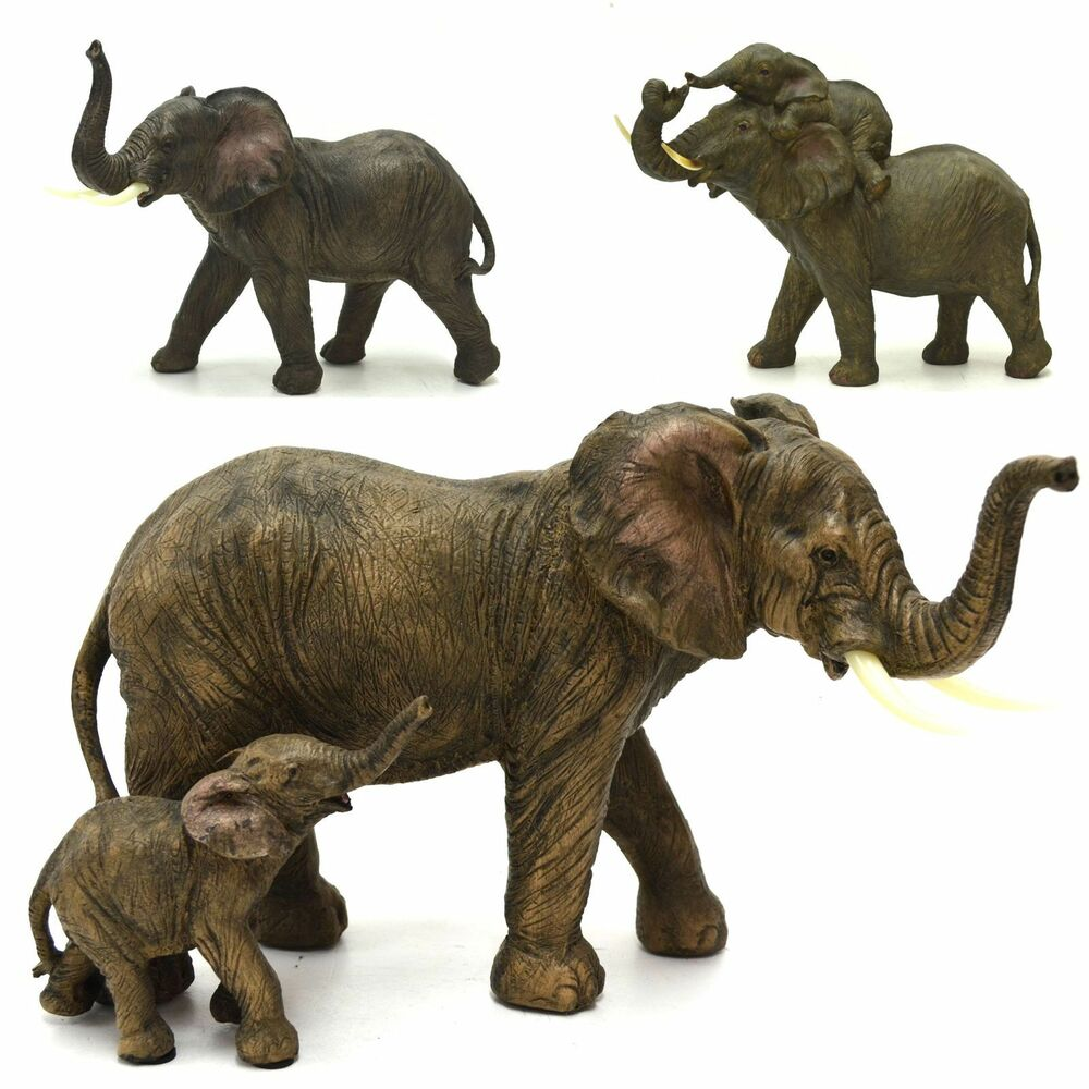 elephant with baby calf garden statue figurine ornament sculpture big 35cm ebay. Black Bedroom Furniture Sets. Home Design Ideas