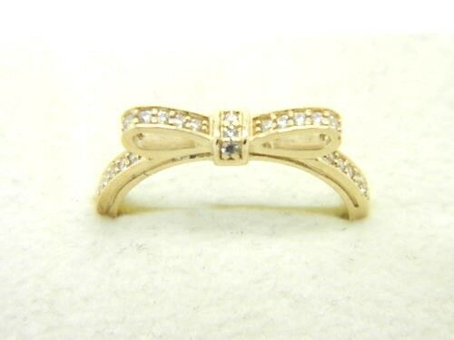 15f442138 AUTHENTIC PANDORA 14K GOLD SPARKLING BOW RING #150175CZ HINGED BOX RETIRED
