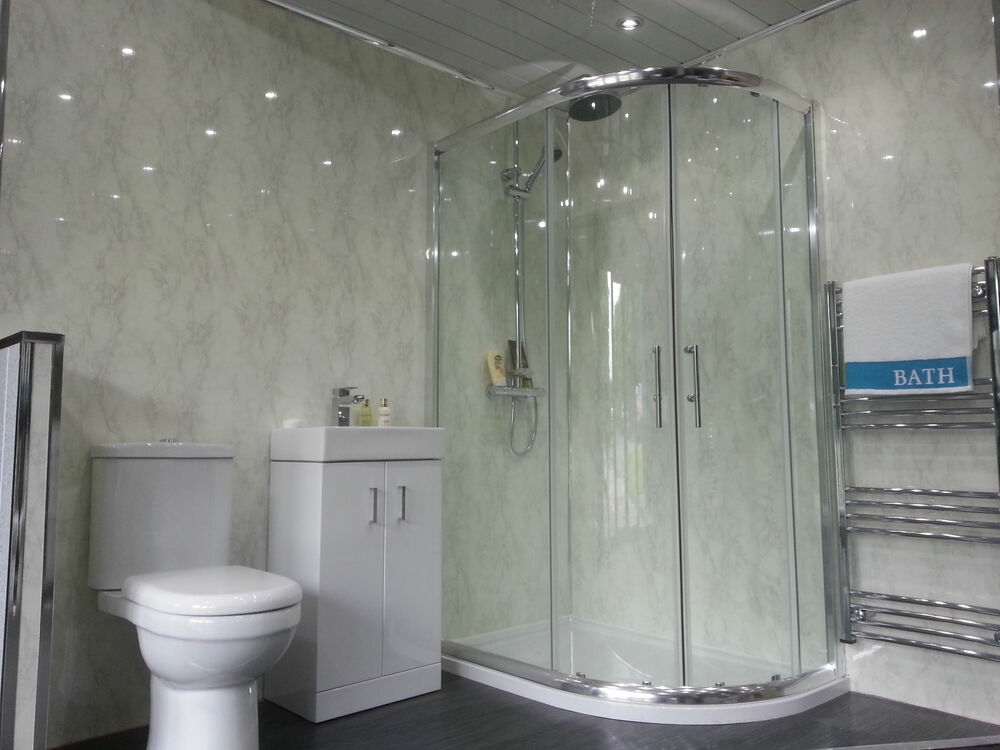 4 white marble bathroom cladding panels grey gloss for Bathroom wall cladding ideas