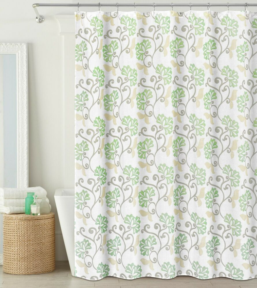 Sage Green Off White Fabric Shower Curtain Semi Sheer Floral Design 70 X72 Ebay