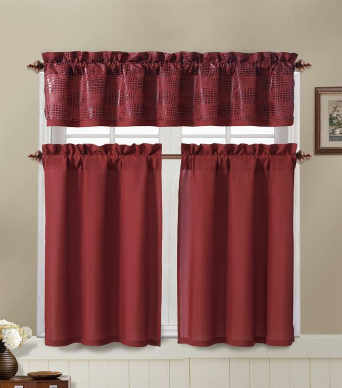 Red 3 piece window curtain set 2 tiers 1 valance w chocolate