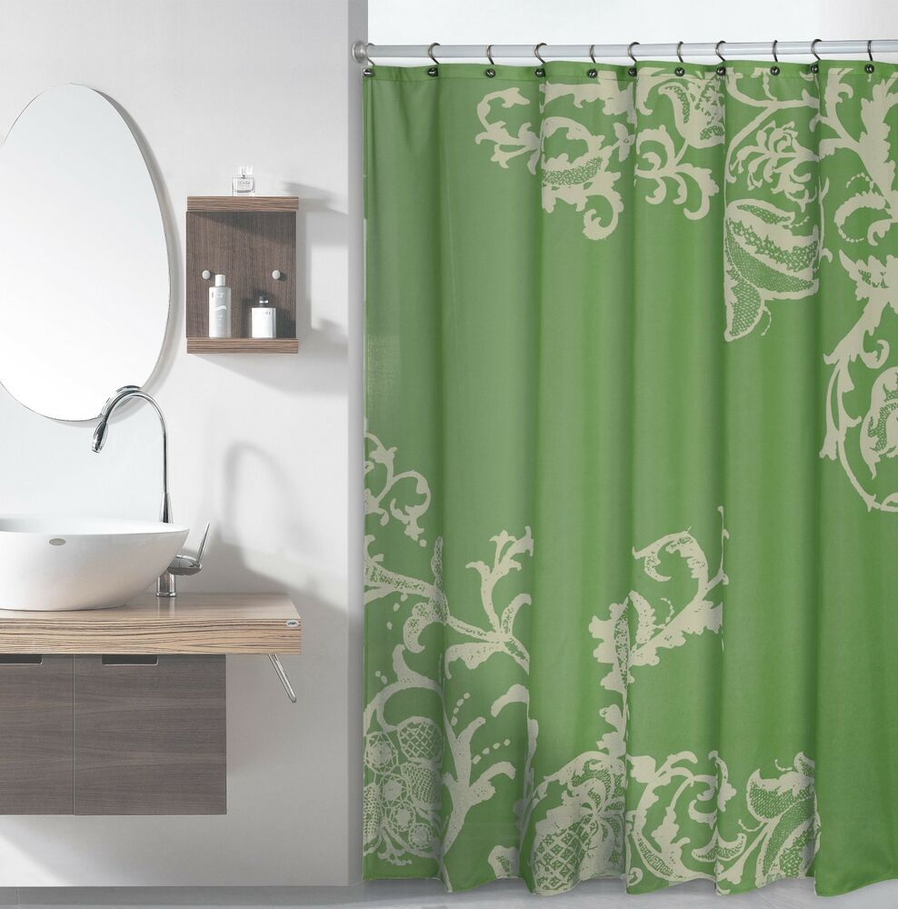 Fabric Shower Curtain: Sage Green With Light Green Floral