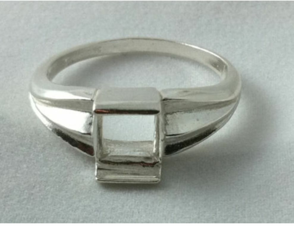7x7mm square plate cut sterling silver ring resized