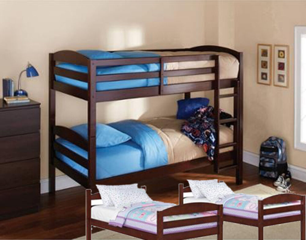 Espresso twin bunk beds wood bed kids bedroom furniture for Furniture 123 bunk beds