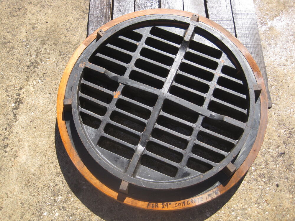Cement Drain Pipe 24 : Vintage hard wood round storm drain cover inch concrete