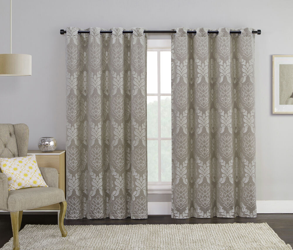 Taupe single jacquard grommet window curtain panel floral for Window panel design