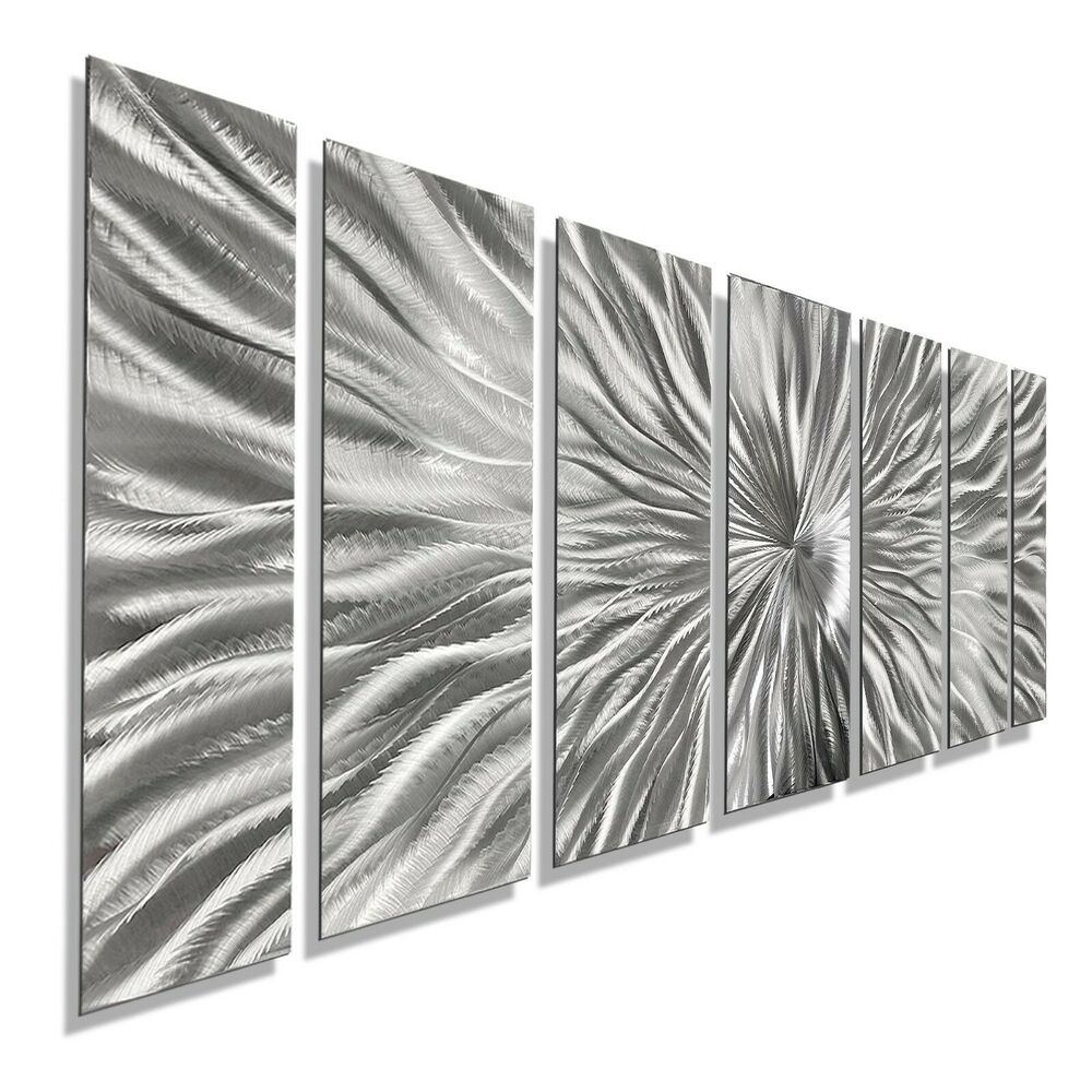 Contemporary Silver Wall Decor : Silver contemporary metal wall art handmade abstract