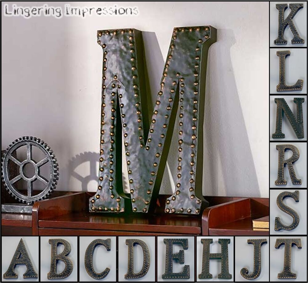 vintage metal monogram initials industrial style wall. Black Bedroom Furniture Sets. Home Design Ideas