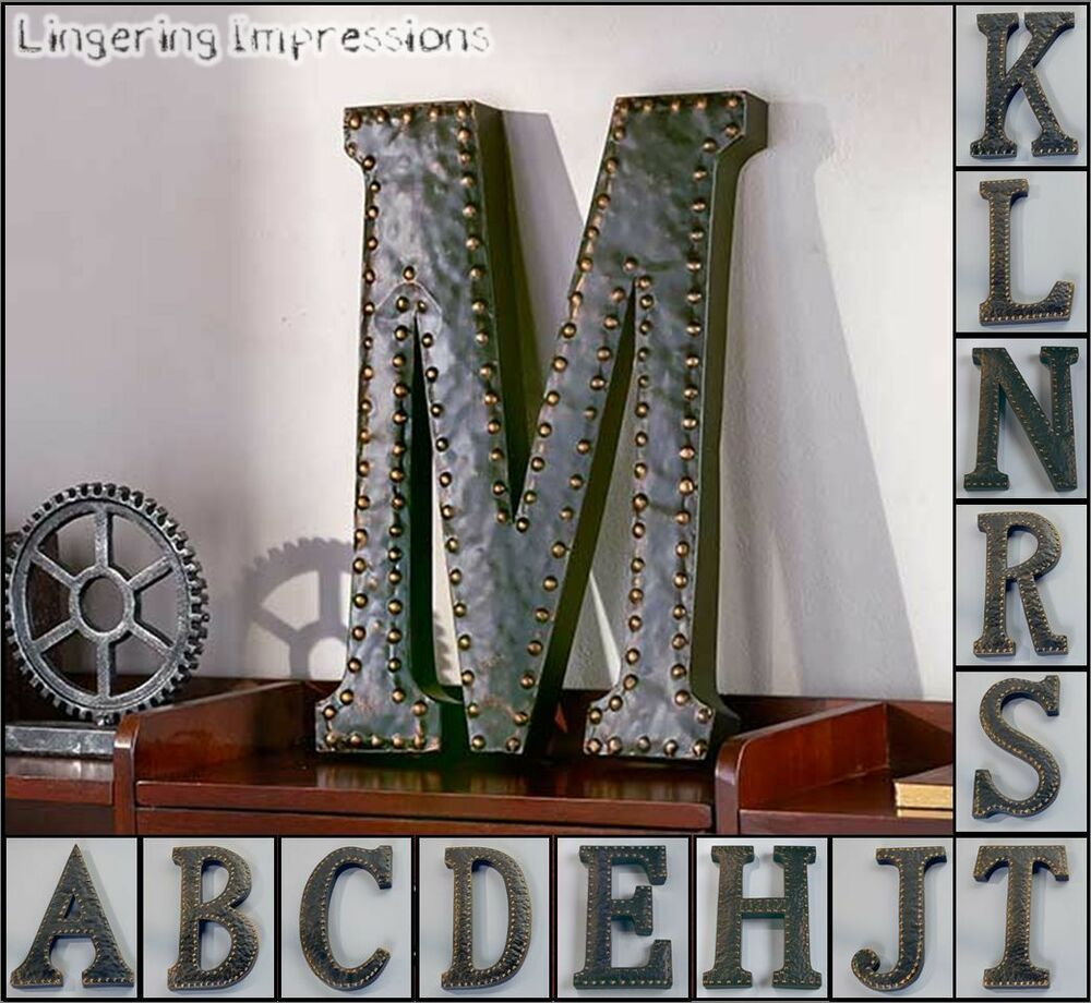 Vintage metal monogram initials industrial style wall for Hanging wall decor