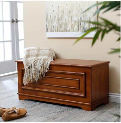 Hope Chest Bedroom Storage Trunk Wood Blanket Bench
