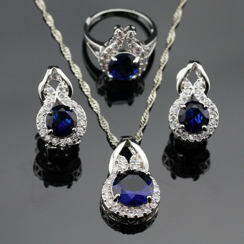 sapphire necklace and earrings set beetle blue sapphire jewelry set 925 silver necklace 2057