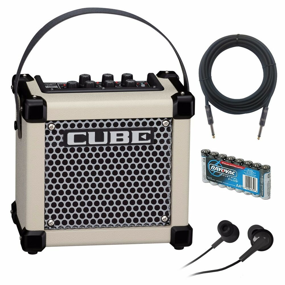 roland micro cube gx battery powered guitar amplifier white amp pak ebay. Black Bedroom Furniture Sets. Home Design Ideas