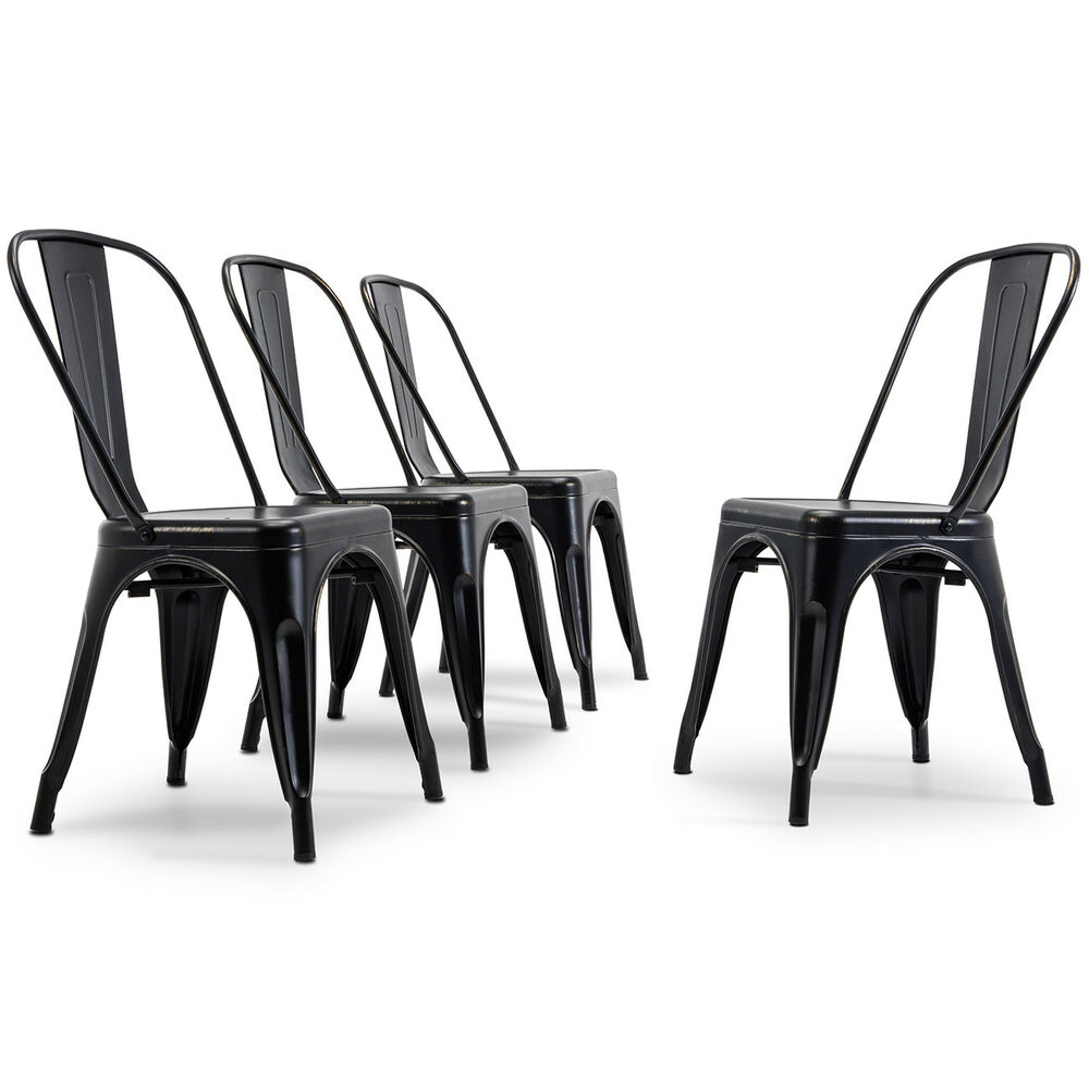 Antique Black Set Of 4 Metal Chairs Stackable Dining Room