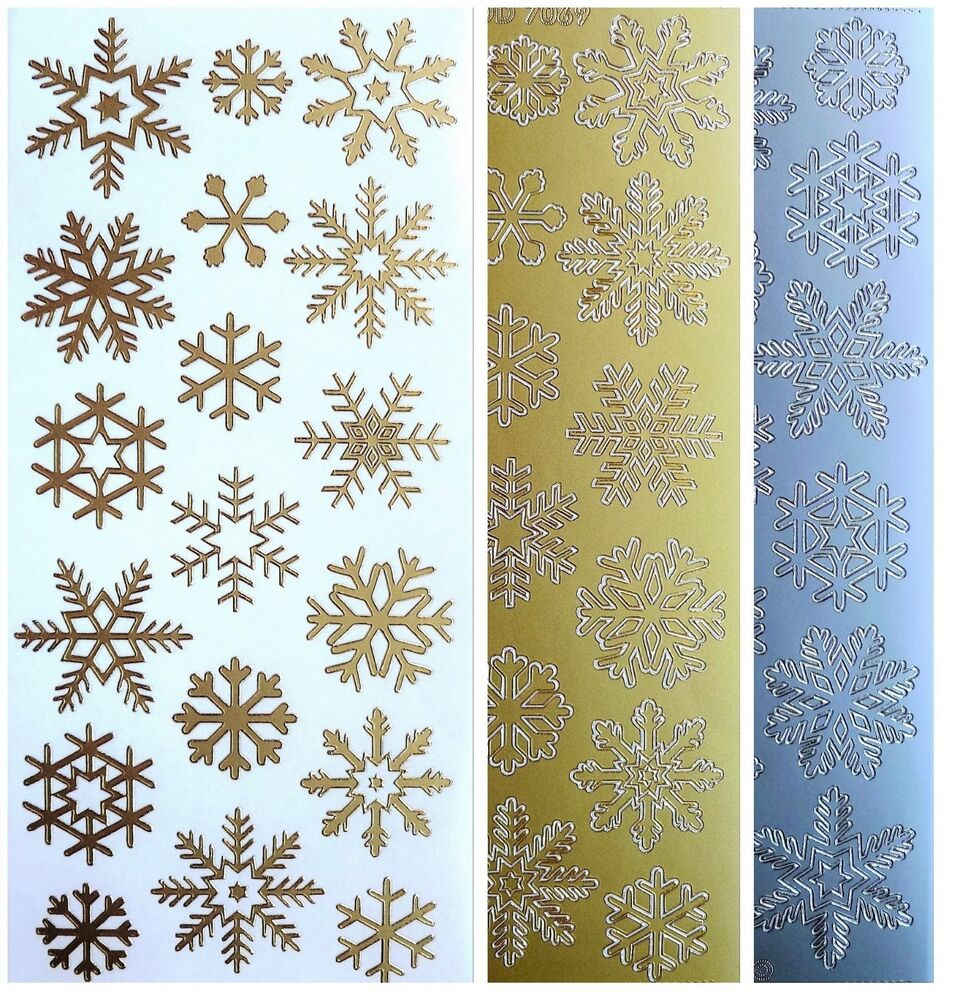 Christmas tree collection peel region : Snowflakes peel off stickers frozen winter christmas card