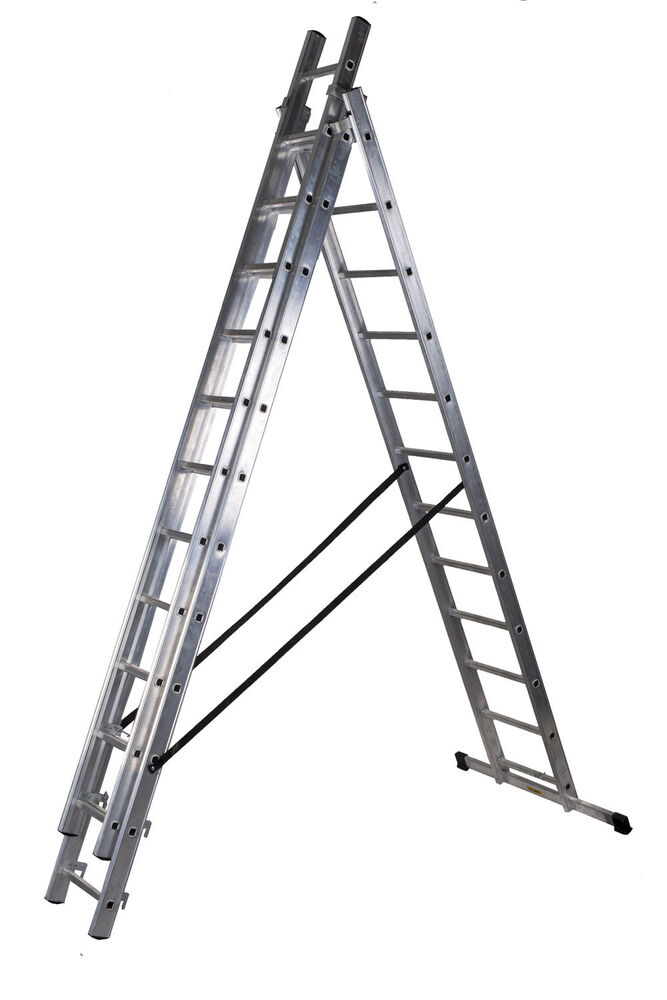 3 Section Extension Ladder : Aluminium trade en triple section combination