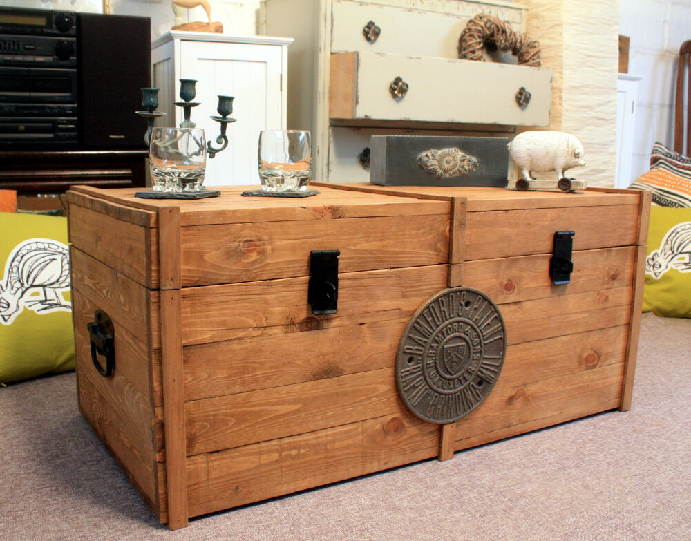 Large wooden chest trunk rustic vintage storage blanket