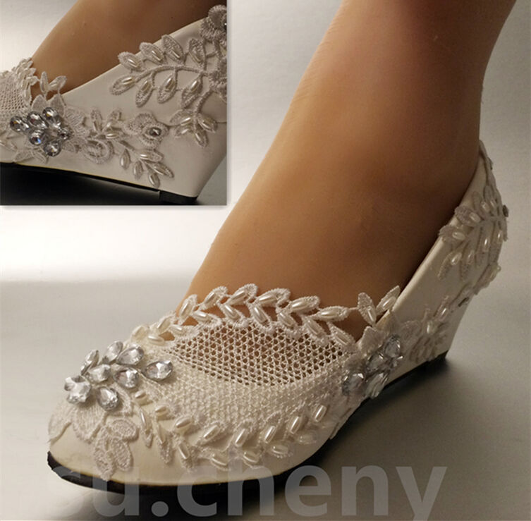"""Su.cheny 2"""" White Ivory Wedges Pearls Lace Crystal Wedding"""