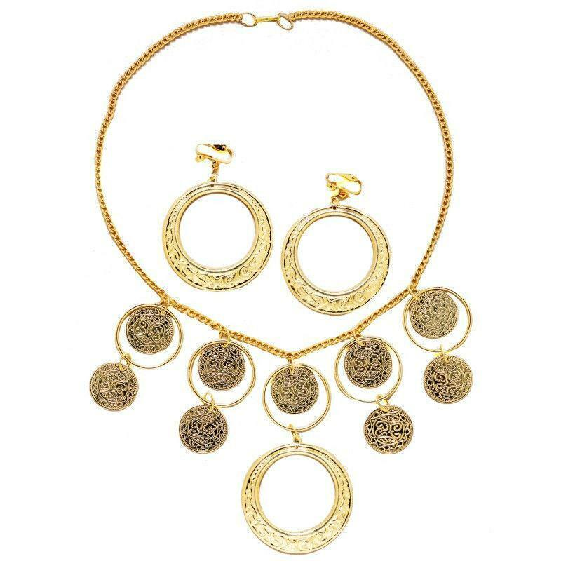 gold necklace and earrings costume goldtone costume