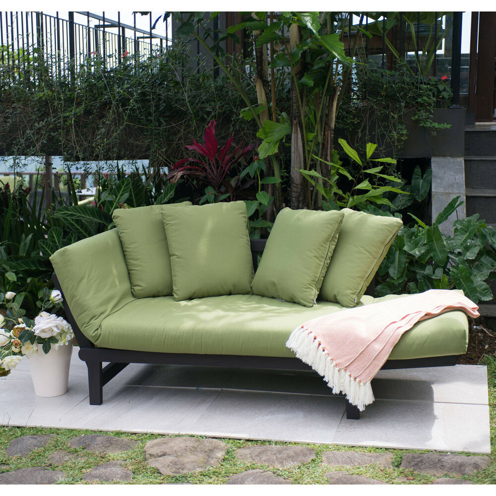 Green outdoor patio furniture set chair lounger futon deck for Outdoor garden furniture