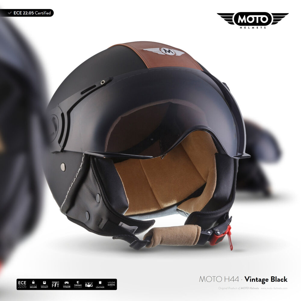 roller helm motorrad helm scooter leder jet helm moto h44. Black Bedroom Furniture Sets. Home Design Ideas