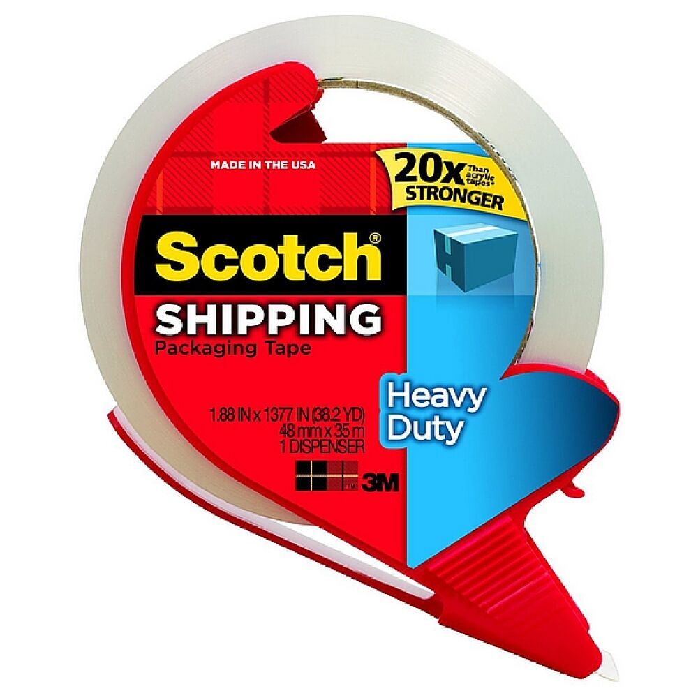 Scotch Heavy Duty Shipping Packaging Tape With Dispenser 1 Ea Pack