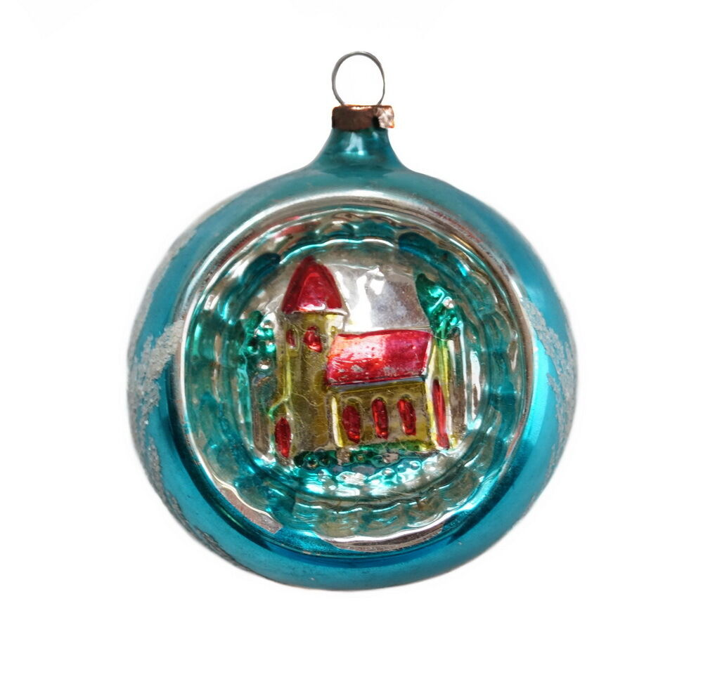 Antique Blown Glass Diorama Christmas Ornament With Church
