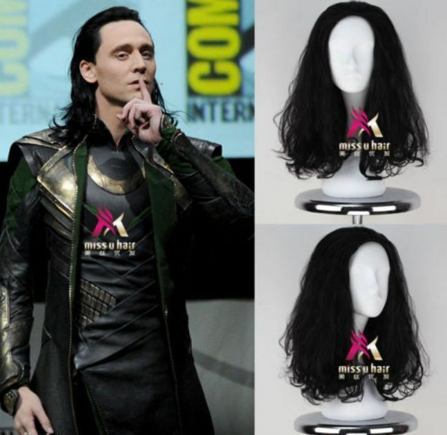 The Avengers Loki Wig Men S Long Curly Black Movie Anime