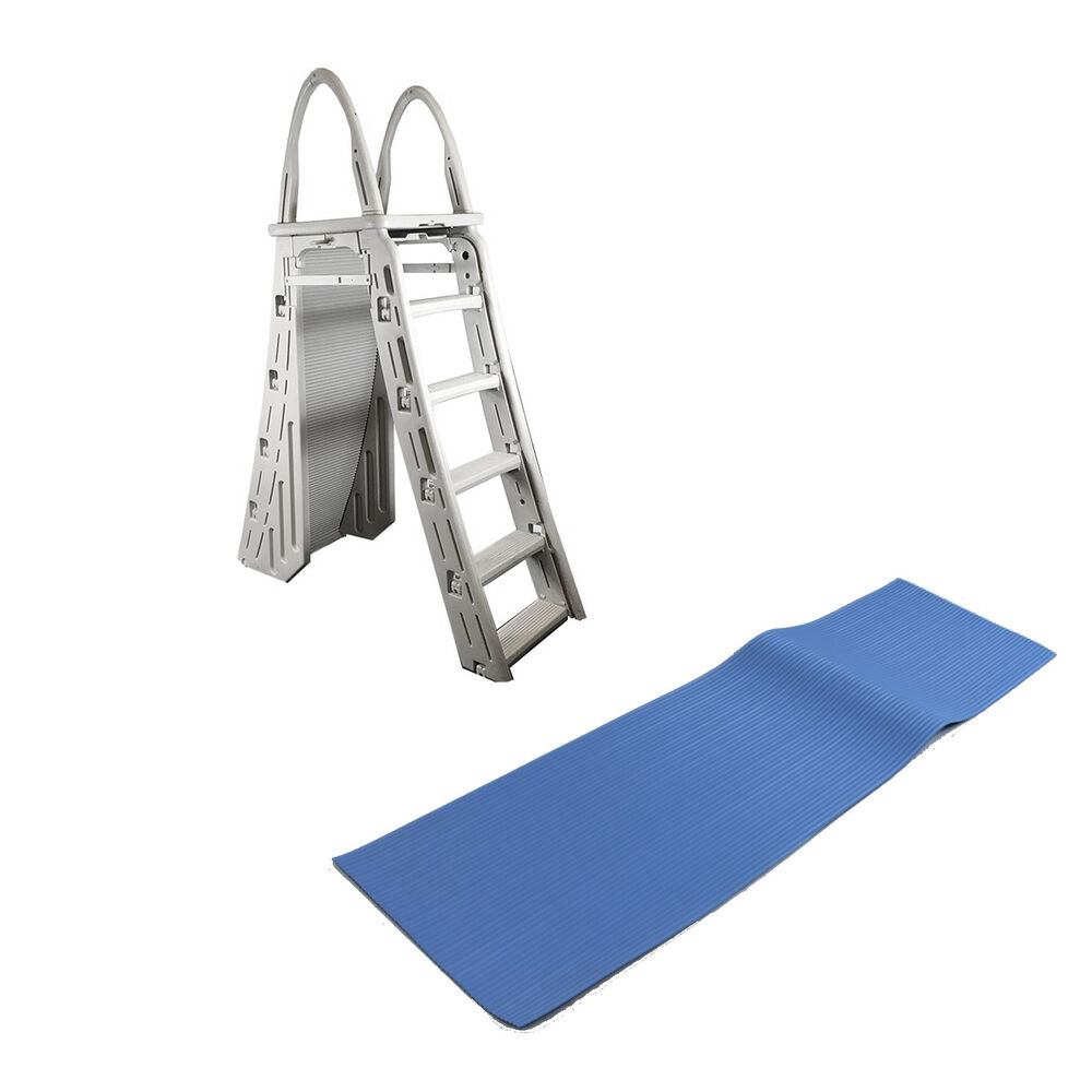Confer heavy duty a frame above ground pool ladder and protective ladder mat ebay for Heavy duty swimming pool ladders