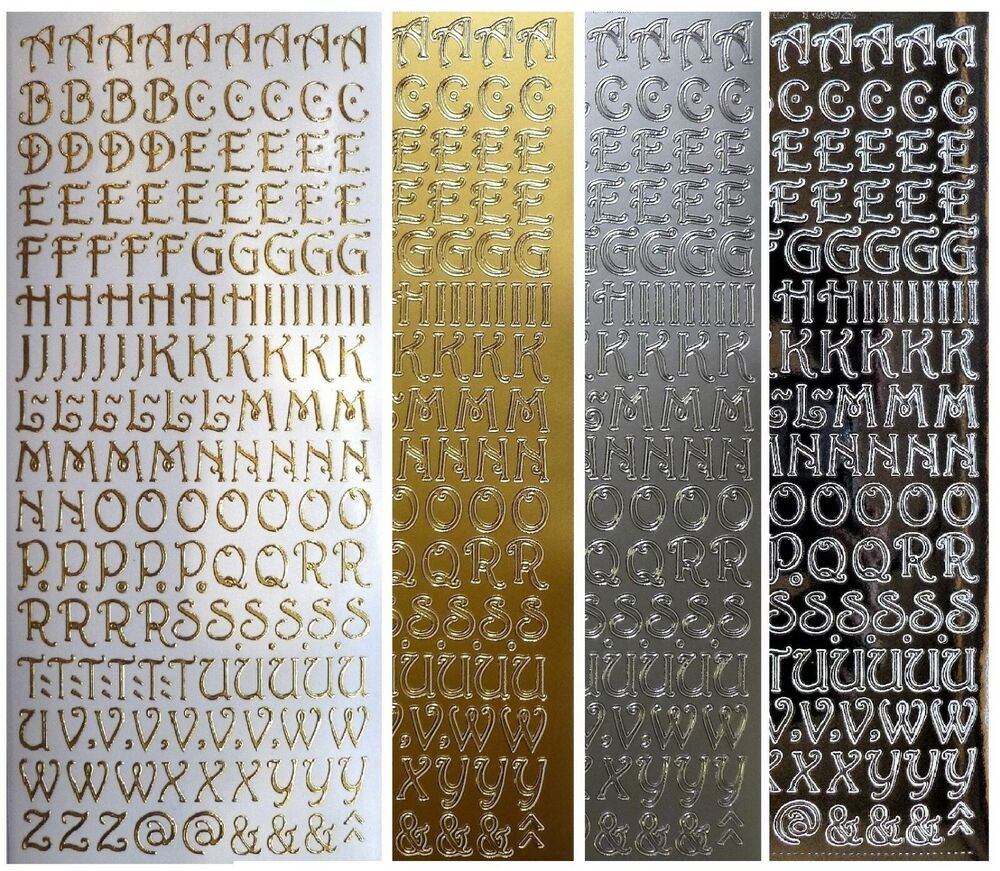 Silver And Gold Leters: UPPERCASE Peel Off Stickers 10mm Capital